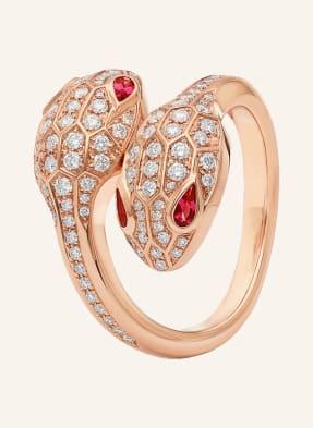 BVLGARI Ring SERPENTI SEDUTTORI aus 18 Karat Roségold mit Augen aus Rubellit und Diamant-Pavé