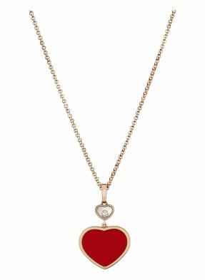 Chopard Anhänger HAPPY HEARTS Anhänger aus 18 Karat Roségold, Diamanten und roter Stein