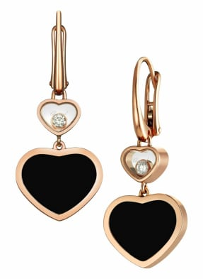 Chopard Ohrring HAPPY HEARTS Ohrringe aus 18 Karat Roségold, Diamanten und Onyx