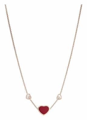 Chopard Halskette HAPPY HEARTS Halskette aus 18 Karat Roségold, Diamanten und roter Stein
