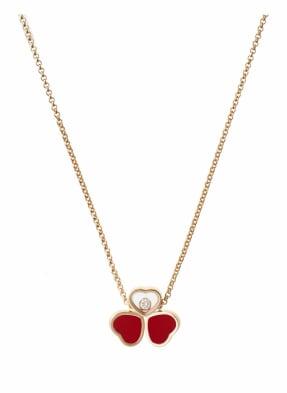 Chopard Halskette HAPPY HEARTS WINGS Halskette aus 18 Karat Roségold, Diamanten und roter Stein