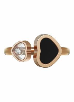 Chopard Ring HAPPY HEARTS Ring aus 18 Karat Roségold, Diamanten und Onyx