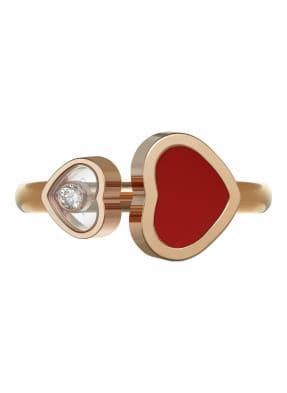 Chopard Ring HAPPY HEARTS Ring aus 18 Karat Roségold, Diamanten und roter Stein