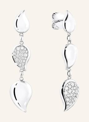 TAMARA COMOLLI Ohrringe SIGNATURE WAVE MEDIUM aus 18 Karat Weißgold mit Diamant Pavé