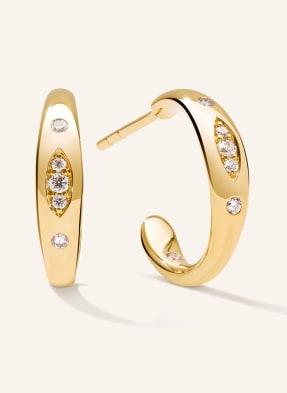 TAMARA COMOLLI Ohrringe GYPSY CREOLE SMALL aus 18 Karat Gelbgold mit Diamant Pavé
