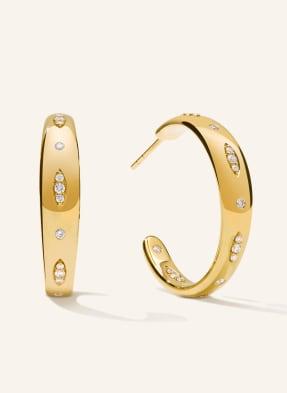 TAMARA COMOLLI Ohrringe GYPSY CREOLE LARGE aus 18 Karat Gelbgold mit Diamant Pavé