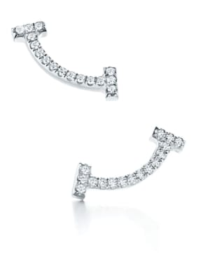TIFFANY & Co. Ohrringe TIFFANY T SMILE aus 18 Karat Weißgold mit Diamanten
