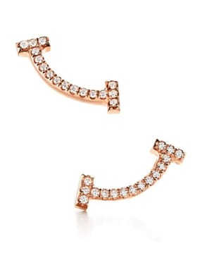 TIFFANY & Co. Ohrringe TIFFANY T SMILE aus 18 Karat Roségold mit Diamanten