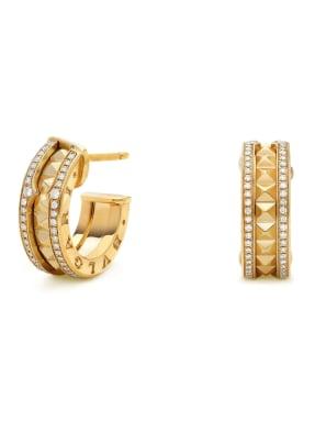 BVLGARI Ohrring B.ZERO1 aus 18 Karat Gelbgold, Diamanten und Keramik