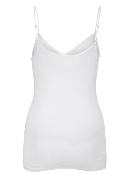 top White Seamless Cotton Hanro Spaghettiträger 0BwTfxqR5