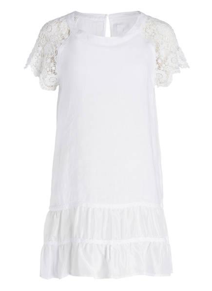 120%lino Leinen/Seide-Kleid mit Häkelspitze