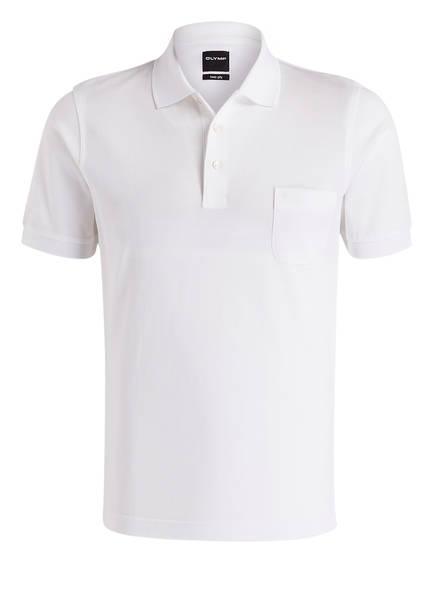 OLYMP Piqué-Poloshirt modern fit, Farbe: WEISS (Bild 1)