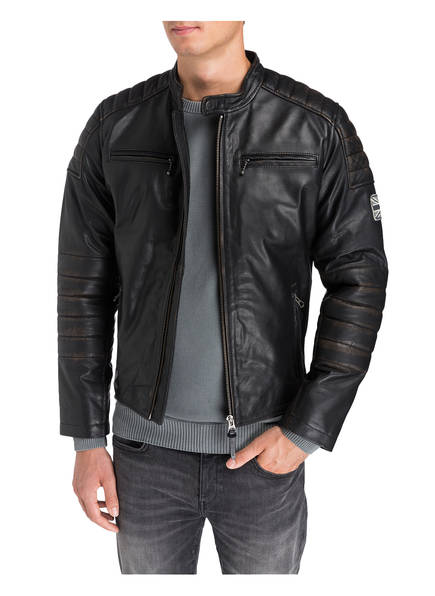 lederjacke paul im biker stil von pepe jeans bei. Black Bedroom Furniture Sets. Home Design Ideas