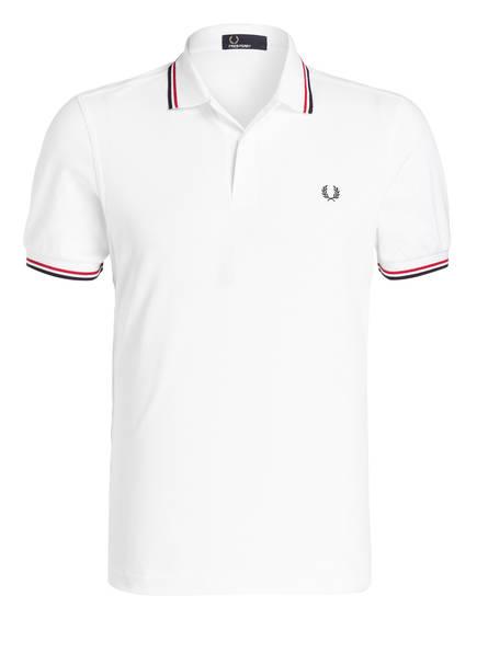FRED PERRY Piqué-Poloshirt, Farbe: WEISS/ ROT/ NAVY (Bild 1)