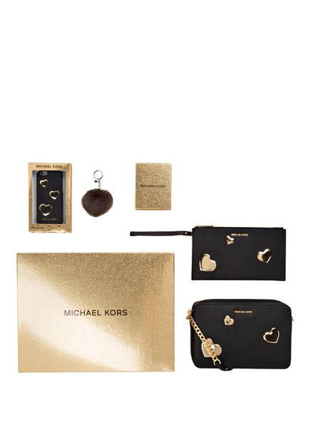 MICHAEL KORS 4-tlg. Set: Umhängetasche, Pouch, Fell-Pompon und iPhone-Hülle