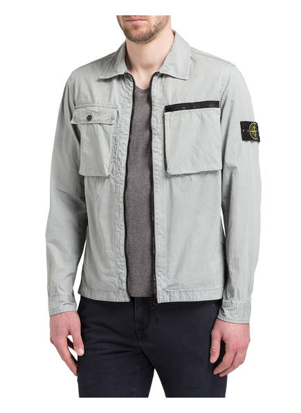 overshirt slim fit mit rei verschluss von stone island bei. Black Bedroom Furniture Sets. Home Design Ideas