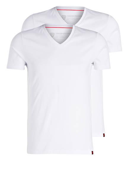 strellson 2er-Pack V-Shirts, Farbe: WEISS (Bild 1)