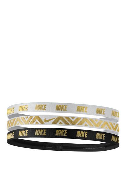 Nike 3er-Pack Haarbänder mit Metallic-Print, Farbe: SCHWARZ/ WEISS/ GOLD (Bild 1)