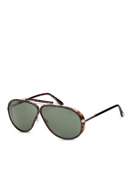 TOM FORD Sonnenbrille FT509  CEDRIC , Farbe: 52N - SHINY CLASSIC DARK HAVANA/ SHINY ROSE GOLD/ GREEN (Bild 1)