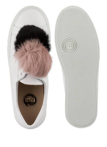 ras Plateau-Sneaker mit Fell-Pompon
