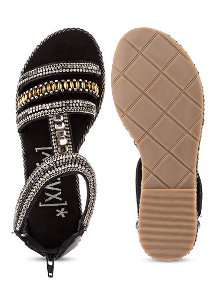 [xyxyx]* Sandalen mit Schmucksteinbesatz