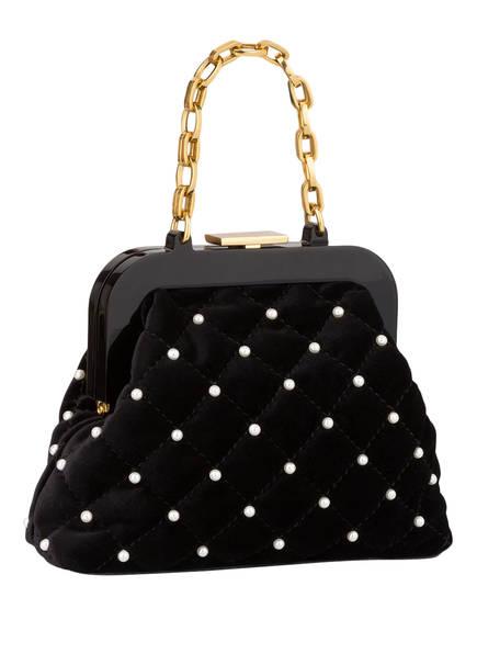 MARCCAIN Samt-Handtasche mit Perlenbesatz