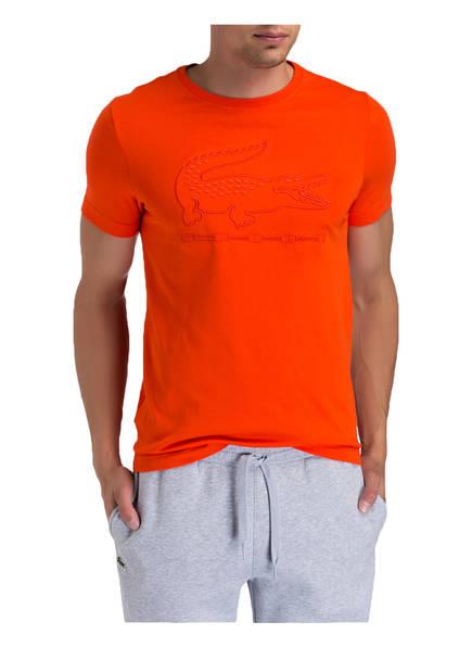 LACOSTE T-Shirt mit monochromem Logo-Stitching