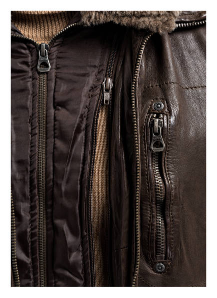 gipsy Lederjacke RAMIRO mit Besatz aus Schatswolle