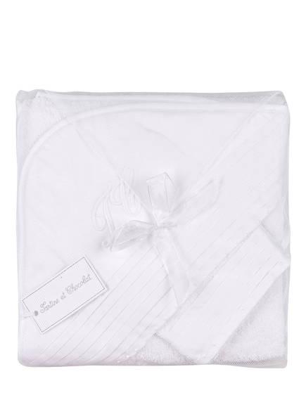 Tartine et Chocolat Set: Badetuch mit Kapuze und Waschhandschuh, Farbe: WEISS (Bild 1)
