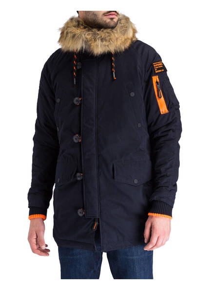 Superdry Parka mit Besatz in Felloptik