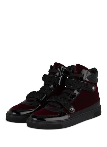 LOUIS LEEMAN Hightop-Sneaker aus Samt, Farbe: SCHWARZ/ BORDEAUX (Bild 1)