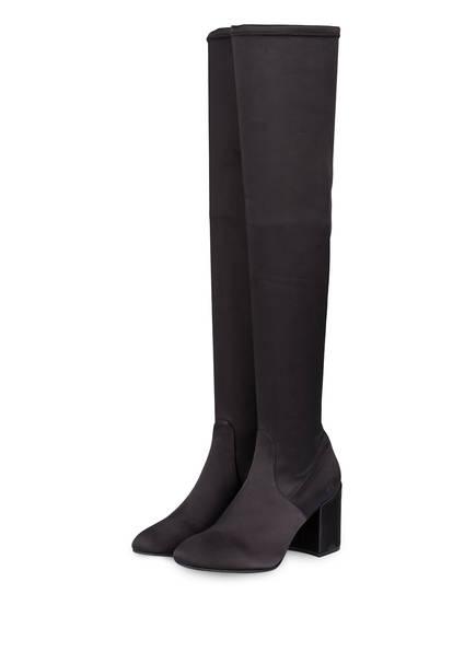 Julie Dee Overknee-Stiefel aus Satin, Farbe: SCHWARZ  (Bild 1)