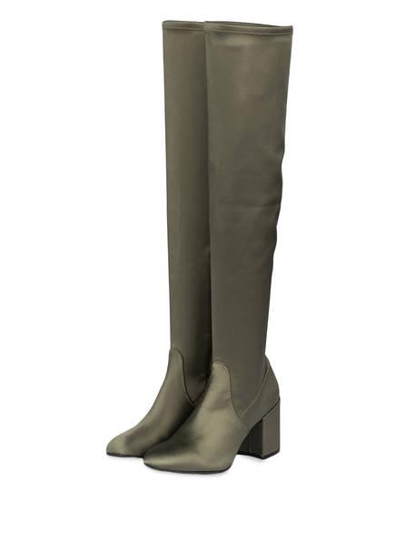 Julie Dee Overknee-Stiefel aus Satin, Farbe: OLIV  (Bild 1)
