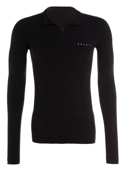 FALKE Funktionswäsche-Shirt WOOL-TECH mit Merinowolle-Anteil, Farbe: SCHWARZ MELIERT (Bild 1)