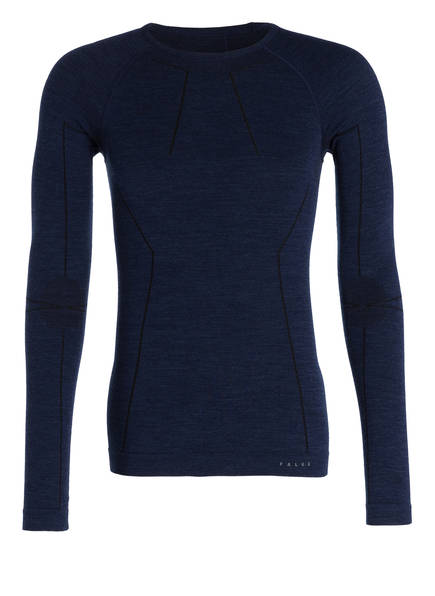 FALKE Funktionswäsche-Shirt WOOL-TECH mit Merinowolle-Anteil, Farbe: NAVY (Bild 1)