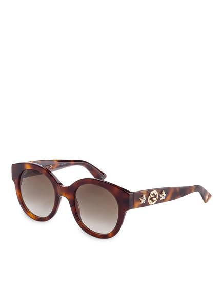 gucci sonnenbrille gg0207s farbe 002 havana braun verlauf bild 1