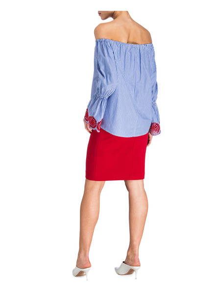 bluse Off Gestreift Blau Lilienfels shoulder Weiss UEAnSAzf