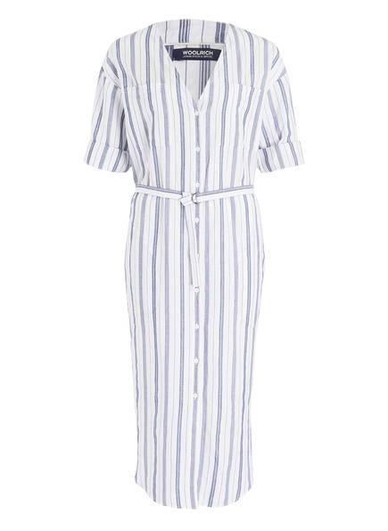 WOOLRICH Blusenkleid mit Leinenanteil, Farbe: WEISS/ NAVY (Bild 1)
