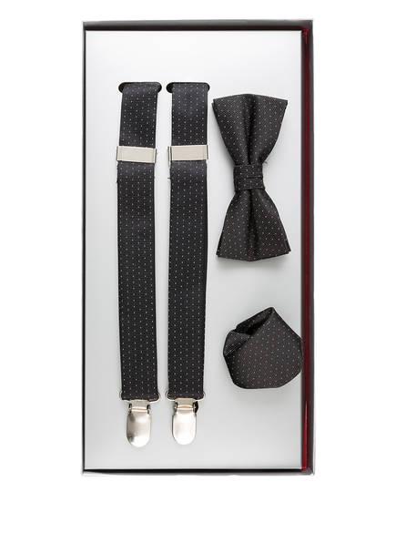 PAUL Set: Hosenträger, Schleife und Einstecktuch, Farbe: SCHWARZ/ WEISS (Bild 1)