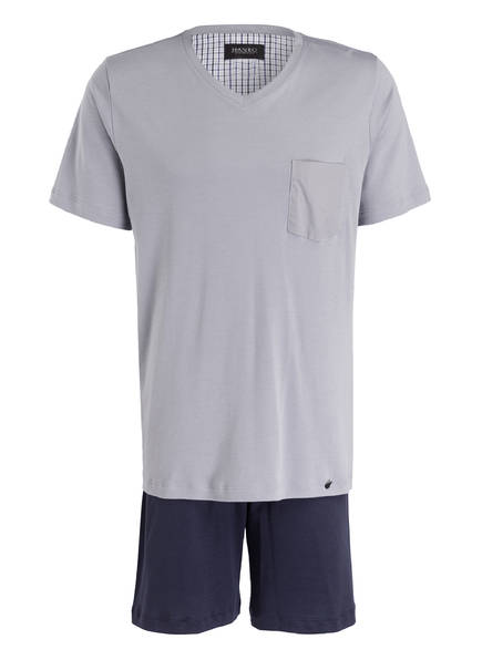HANRO Shorty-Schlafanzug NIGHT & DAY, Farbe: GRAU/ NAVY (Bild 1)