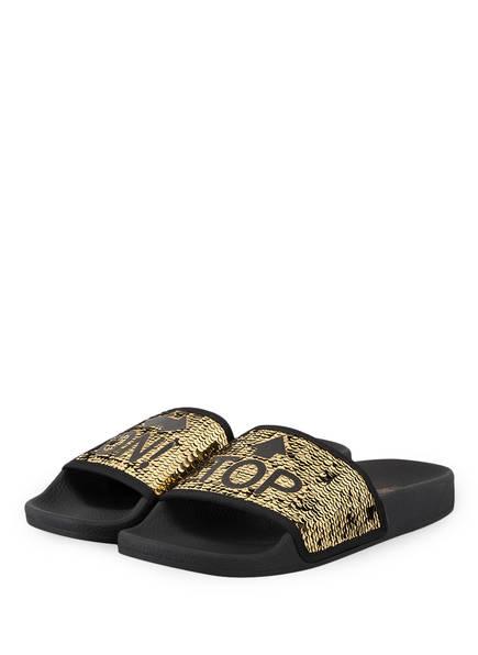 THEWHITEBRAND Sandalen mit Paillettenbesatz, Farbe: GOLD (Bild 1)