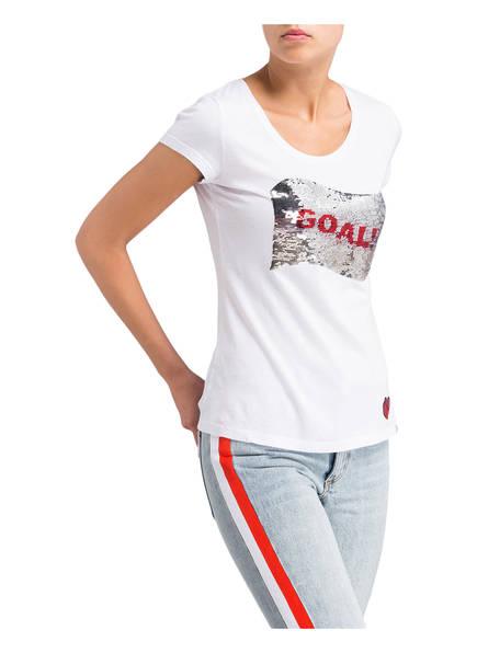 Key Weiss shirt T Mit Largo Wendepailletten wCwUq4pz
