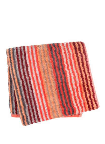 Cawö Handtuch UNIQUE, Farbe: KORALLE/ HELLGRAU/ LACHS (Bild 1)