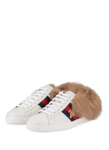 GUCCI Sneaker NEW ACE mit Fell, Farbe: WEISS (Bild 1)