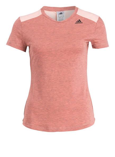 adidas  T-Shirt PRIME im Materialmix, Farbe: ROSA/ GRAU MELIERT (Bild 1)