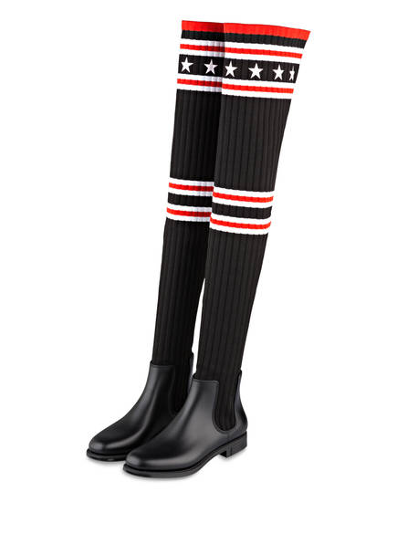 GIVENCHY Overknee-Stiefel, Farbe: SCHWARZ/ ROT (Bild 1)