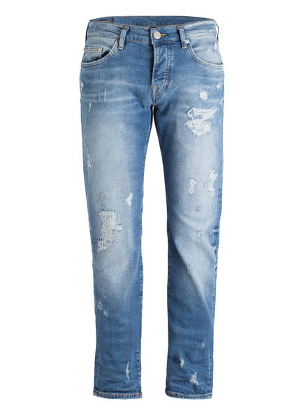 TRUE RELIGION Destroyed-Jeans ROCCO Relaxed Skinny Fit, Farbe: MID BLUE DESTROYED  (Bild 1)