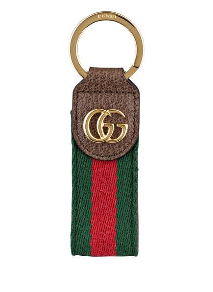 GUCCI Schlüsselanhänger OPHIDIA GG SUPREME, Farbe: GRÜN/ ROT/ BRAUN (Bild 1)