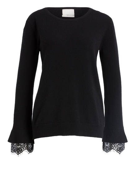 Mrs & HUGS Cashmere-Pullover, Farbe: C12080 Black with black lace (Bild 1)