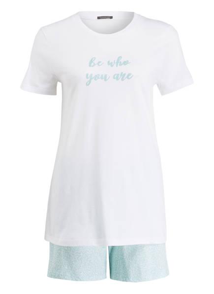 SCHIESSER Shorty-Schlafanzug , Farbe: WEISS/ GRÜN (Bild 1)